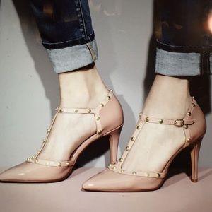 Halogen pink Martine studded T-strap pumps 9 1/2